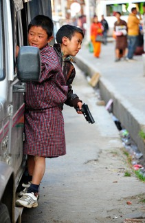 Bhutanese boys like guns
