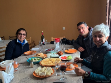Us with Gogita, and the very yummy lunch spread